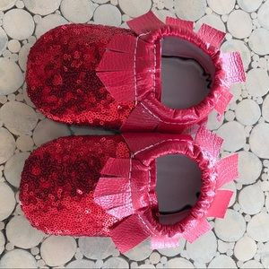 Other - Brand new handmade Toddler red sequin moccasins.